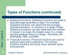 types of functions continued
