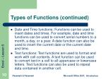 types of functions continued10