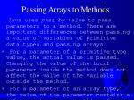 passing arrays to methods