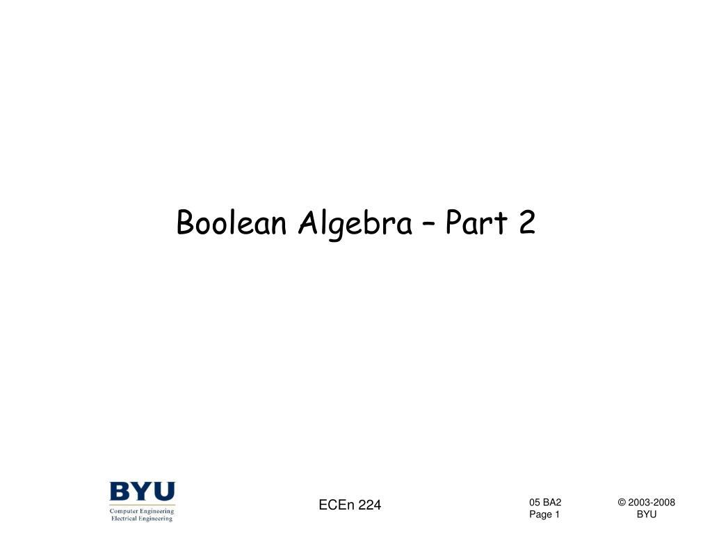 boolean algebra part 2 l.