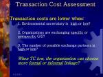 transaction cost assessment