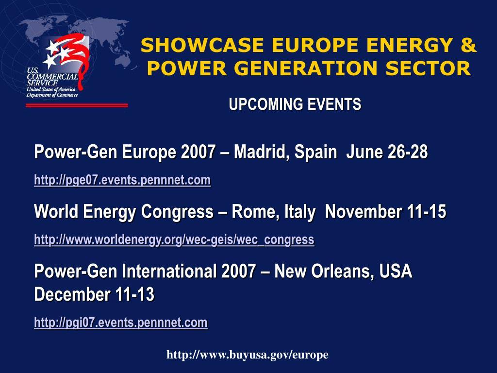 SHOWCASE EUROPE ENERGY & POWER GENERATION SECTOR