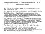 overview and analysis of the african development bank s afdb support to sierra leone