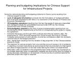 planning and budgeting implications for chinese support for infrastructural projects
