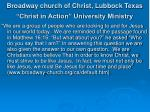 broadway church of christ lubbock texas christ in action university ministry