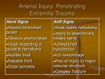 arterial injury penetrating extremity trauma