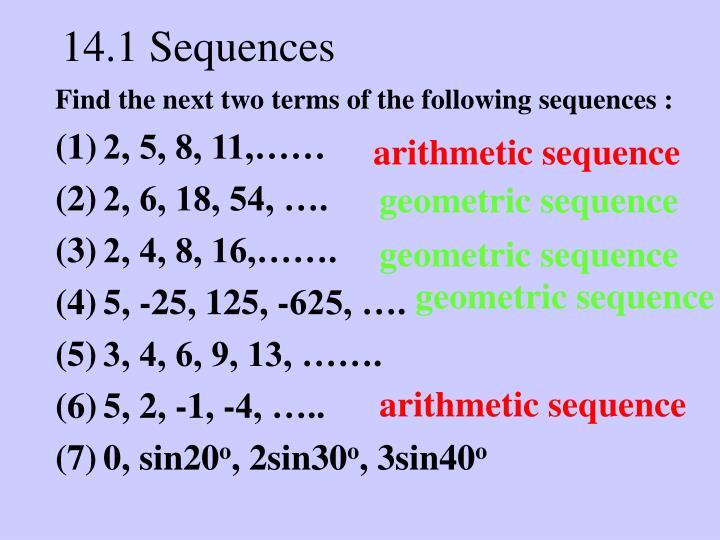 14 1 sequences