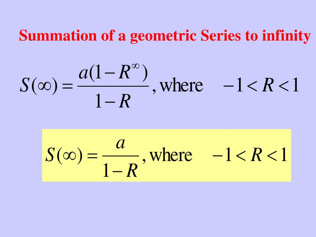 Summation of a geometric Series to infinity