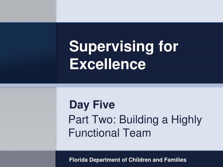 supervising for excellence n.
