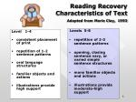 reading recovery characteristics of text adapted from marie clay 1993