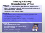 reading recovery characteristics of text