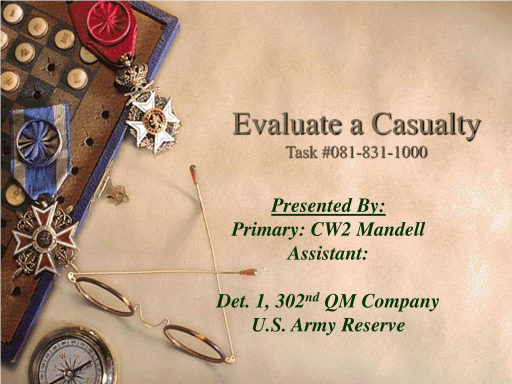 evaluate a casualty task 081 831 1000 l.