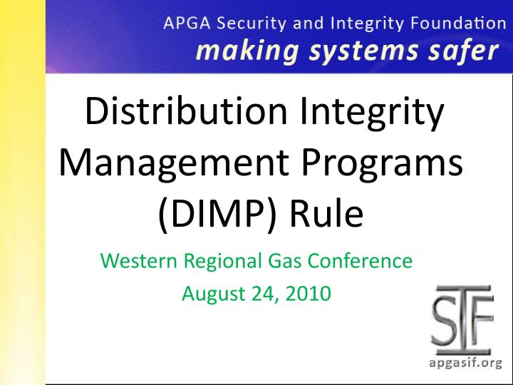 distribution integrity management programs dimp rule n.