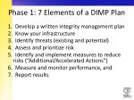 phase 1 7 elements of a dimp plan