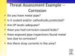 threat assessment example corrosion