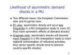 likelihood of asymmetric demand shocks in a mu