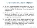 conclusions and acknowledgments