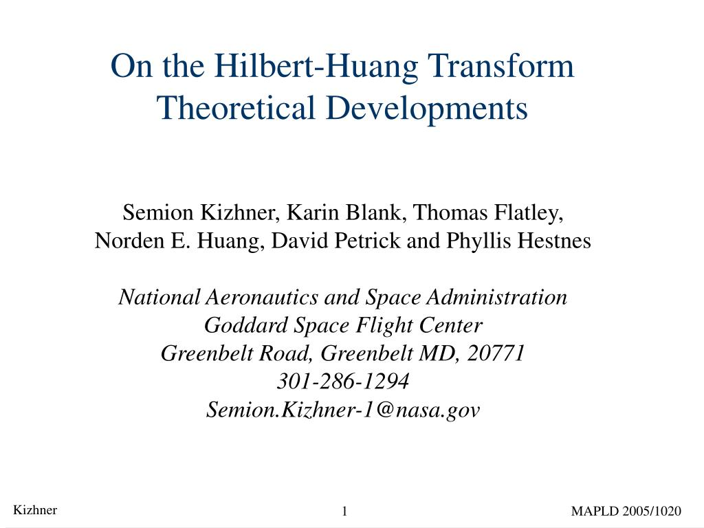on the hilbert huang transform theoretical developments l.