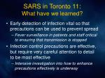sars in toronto 11 what have we learned