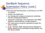 genbank sequence submission policy cont