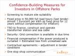 confidence building measures for investors in offshore parks