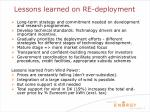 lessons learned on re deployment