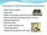 examples of lab workshop equipment