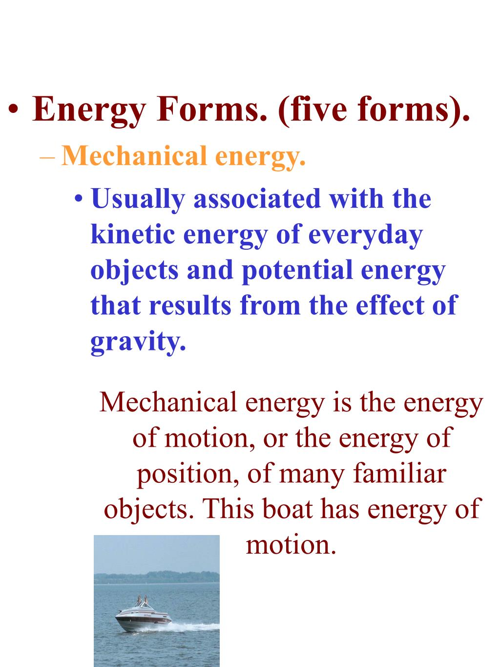 Energy Forms. (five forms).
