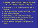 summary potential contribution to us energy supply in 2025