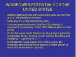 windpower potential for the united states