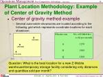 plant location methodology example of center of gravity method