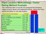 plant location methodology factor rating method example