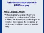 arrhythmias associated with cabg surgery
