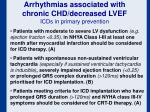 arrhythmias associated with chronic chd decreased lvef icds in primary prevention