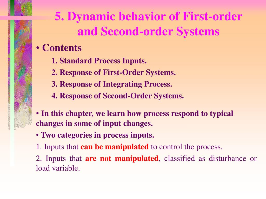 5 dynamic behavior of first order and second order systems l.