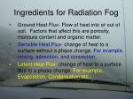 ingredients for radiation fog9