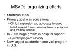 msvd organizing efforts