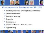 what impacts the development of trust