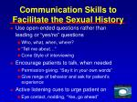 communication skills to facilitate the sexual history