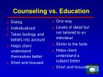 counseling vs education