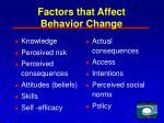 factors that affect behavior change