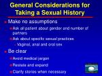 general considerations for taking a sexual history