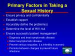 primary factors in taking a sexual history