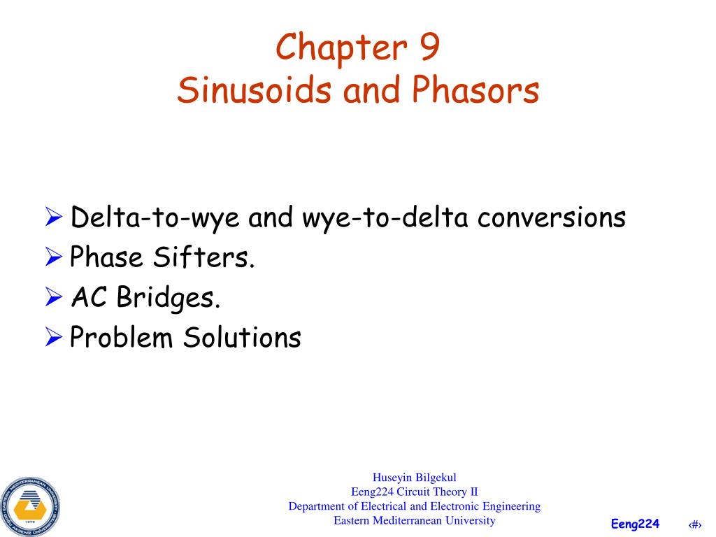 chapter 9 sinusoids and phasors l.