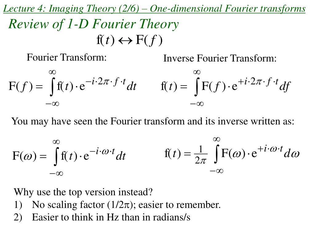 lecture 4 imaging theory 2 6 one dimensional fourier transforms l.