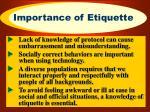 importance of etiquette