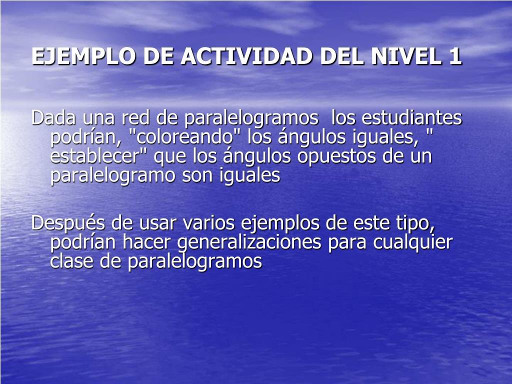 EJEMPLO DE ACTIVIDAD DEL NIVEL 1