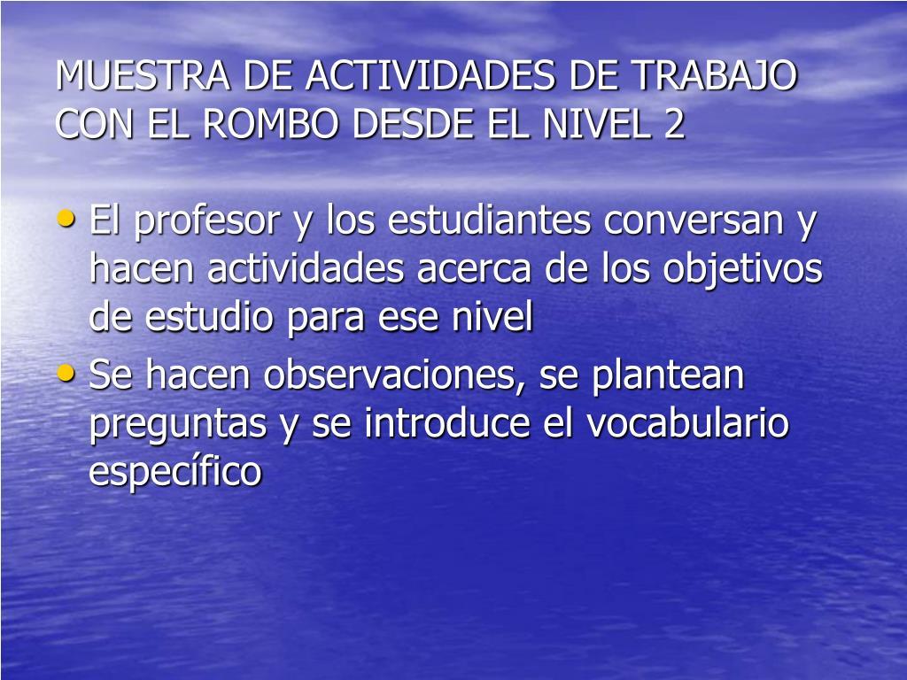 MUESTRA DE ACTIVIDADES DE TRABAJO CON EL ROMBO DESDE EL NIVEL 2