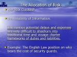 the allocation of risk