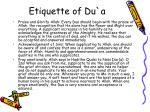 etiquette of du a14